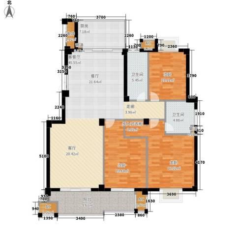 望湖公馆3室1厅2卫1厨135.00㎡户型图