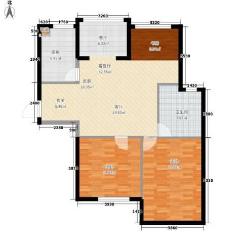 启明星座2室1厅1卫1厨96.00㎡户型图