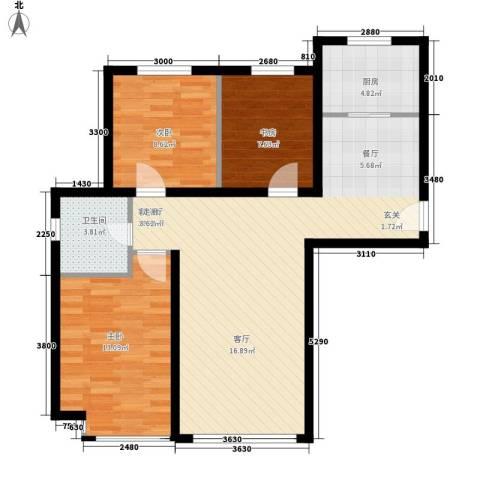 荷堂3室1厅1卫1厨100.00㎡户型图