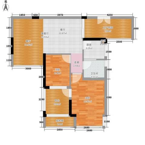 郦城水岸2室1厅1卫1厨77.00㎡户型图
