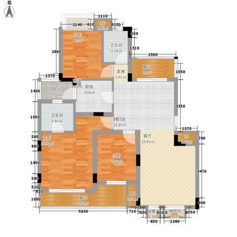 同创高原3室0厅2卫1厨99.00㎡户型图