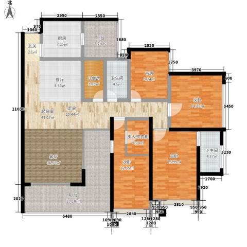 龙湖水晶郦城四组团5室0厅2卫1厨170.00㎡户型图