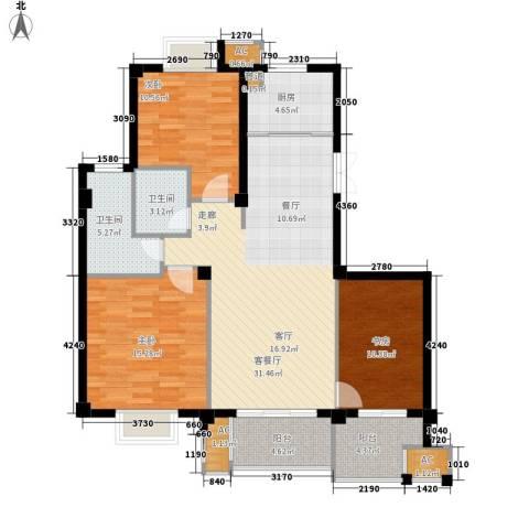 望湖公馆3室1厅2卫1厨105.00㎡户型图