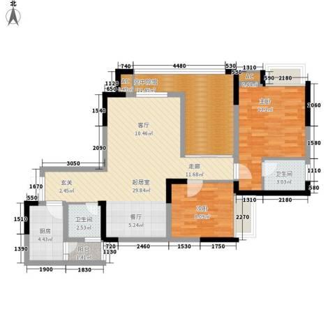 森望滟澜湖2室0厅2卫1厨95.00㎡户型图