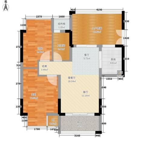 郦城水岸2室1厅1卫1厨81.00㎡户型图