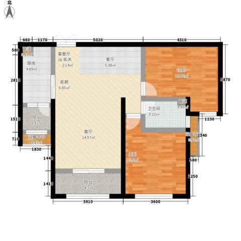 荷堂2室1厅1卫1厨103.00㎡户型图