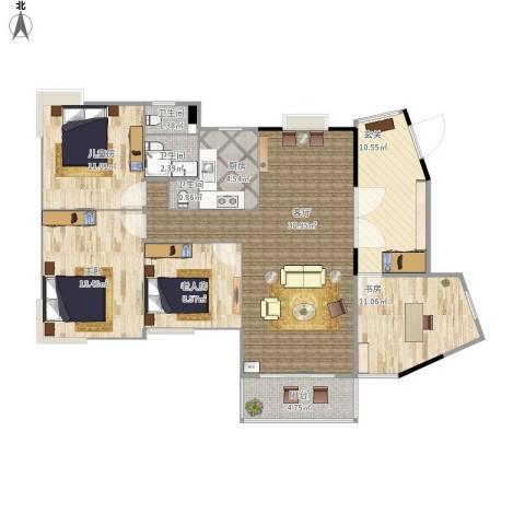 复地城就4室1厅3卫1厨131.00㎡户型图