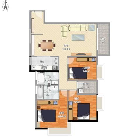 元邦明月水岸3室1厅2卫1厨133.00㎡户型图