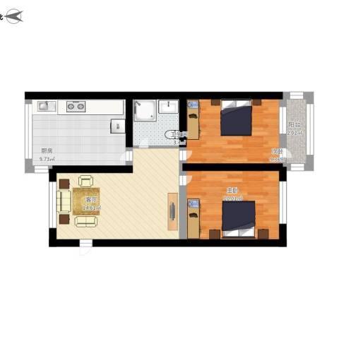朝阳新村2室1厅1卫1厨74.00㎡户型图