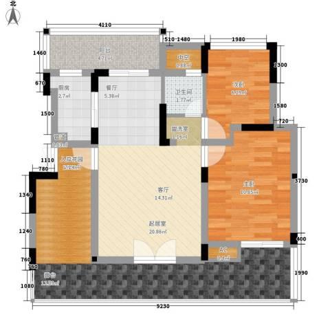 同创高原2室0厅1卫1厨80.00㎡户型图