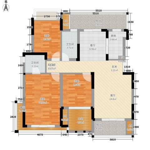 同创高原3室0厅2卫1厨112.00㎡户型图
