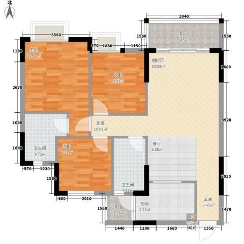 安南丽苑3室1厅2卫1厨108.00㎡户型图