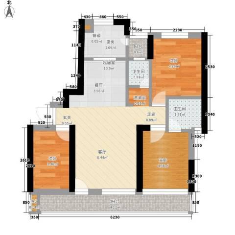 东一国际3室0厅2卫1厨44.00㎡户型图