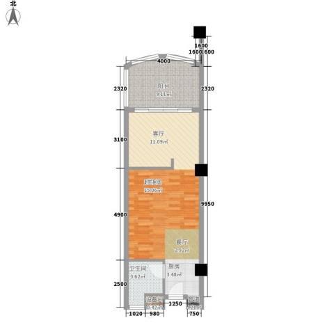 三亚国光滨海花园1卫0厨65.00㎡户型图