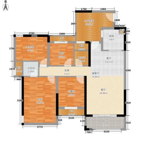 安装公司家属院4室1厅2卫1厨155.00㎡户型图
