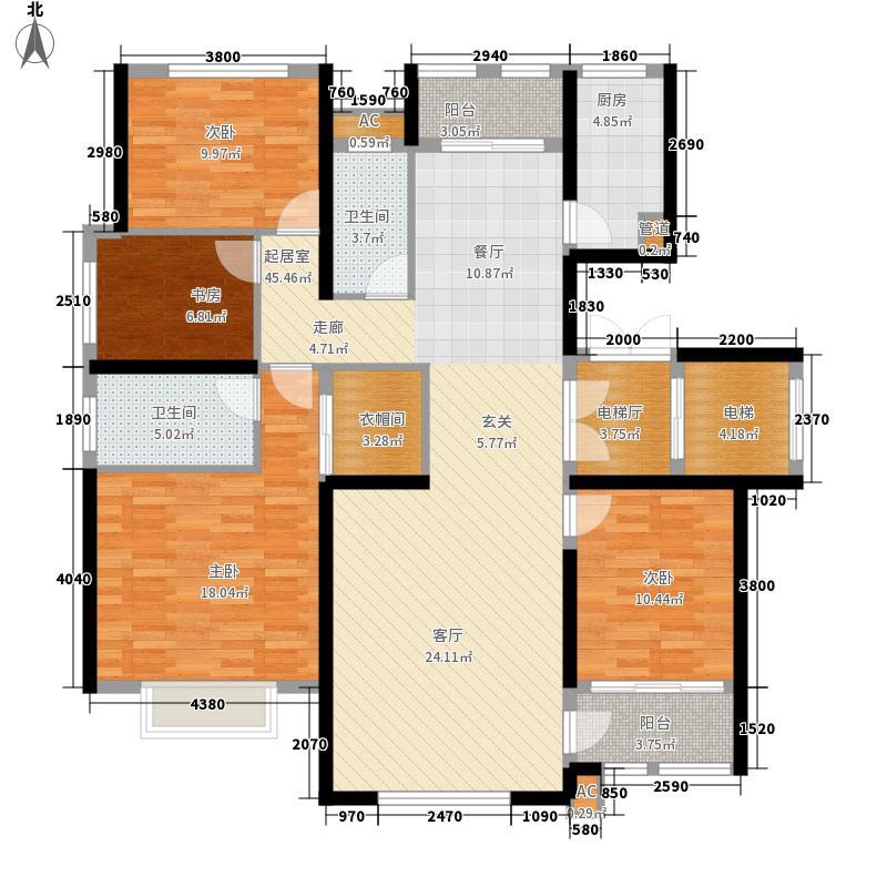 乡居假日香醍园167.50㎡D户型标准层四室两厅两卫167.5平米户型4室2厅2卫