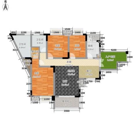 卓越美丽山水3室0厅2卫1厨106.00㎡户型图