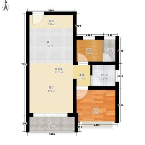 箐英时代1室0厅1卫1厨65.00㎡户型图