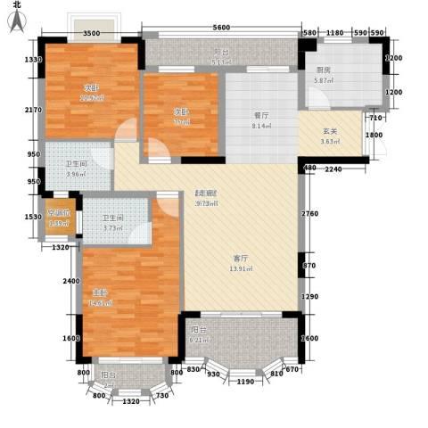 中仪花园3室0厅2卫1厨124.00㎡户型图
