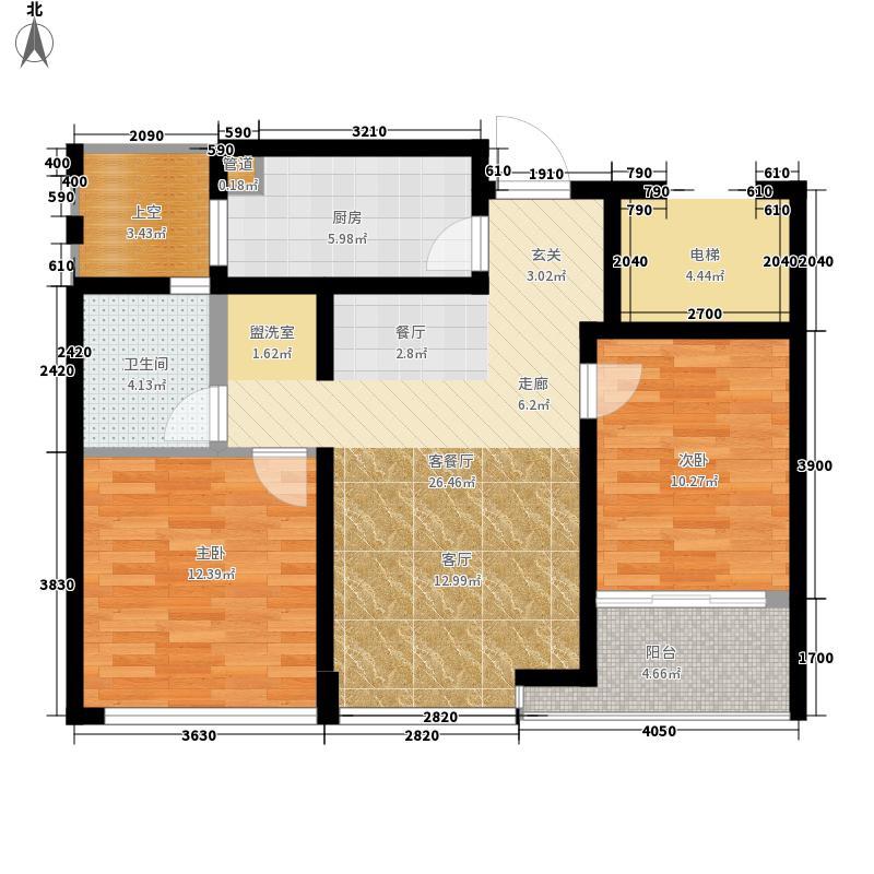 绿城西子・田园牧歌86.00㎡2-D户型2室2厅1卫