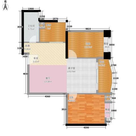 麓湖御景2室0厅1卫1厨93.00㎡户型图