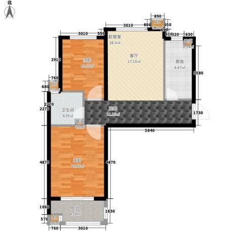橄榄绿洲2室0厅1卫1厨102.00㎡户型图