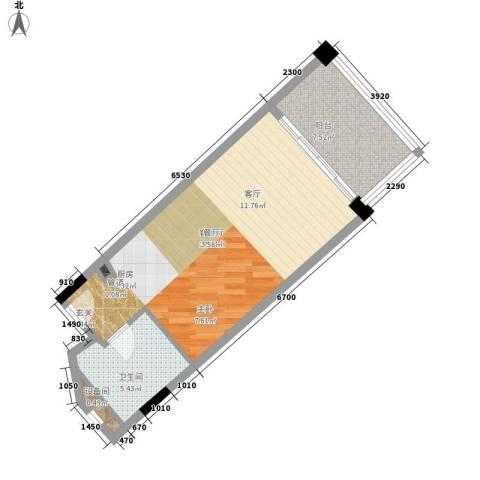 三亚国光滨海花园1厅1卫0厨58.00㎡户型图