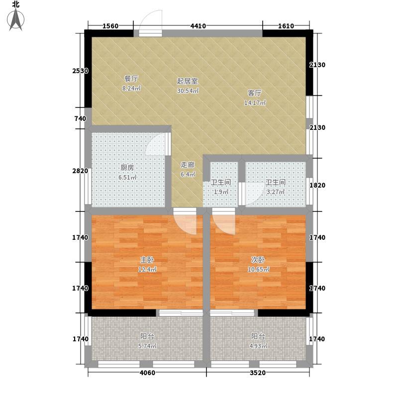 腾龙湾B户型 2室2厅1卫 82.61㎡户型