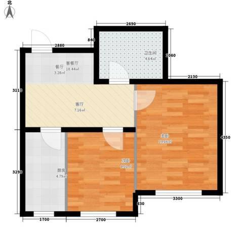 东方・新湖俪城2室1厅1卫1厨58.00㎡户型图
