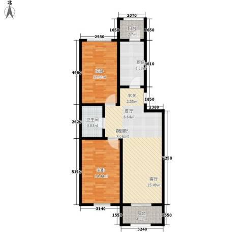 东方・新湖俪城2室1厅1卫1厨102.00㎡户型图
