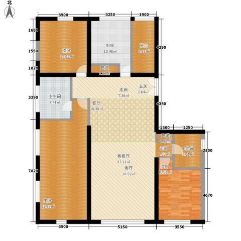 US联邦公寓3室1厅2卫1厨200.00㎡户型图