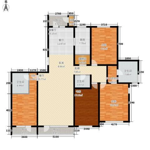 万科水晶城静湾园4室1厅3卫1厨181.61㎡户型图