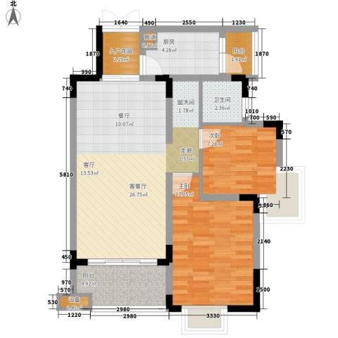 中兴渝景苑2室1厅1卫1厨75.00㎡户型图