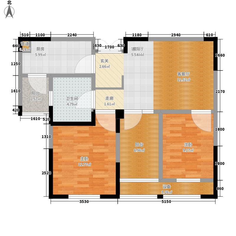 东方维罗纳80.00㎡南区46#楼D户型2室2厅