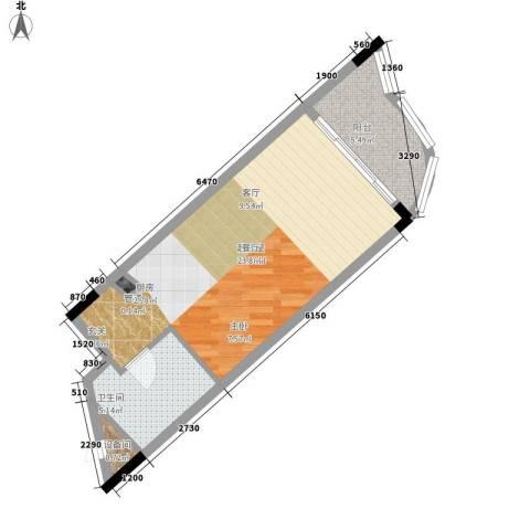 三亚国光滨海花园1卫0厨54.00㎡户型图