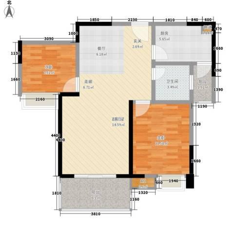 润丰领尚2室0厅1卫1厨82.00㎡户型图
