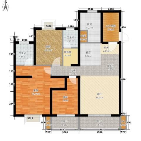 怡水花园3室1厅2卫1厨133.00㎡户型图