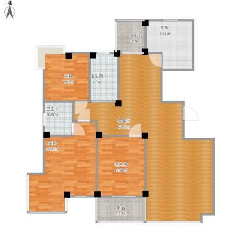 丽园馨都3室1厅2卫1厨148.00㎡户型图