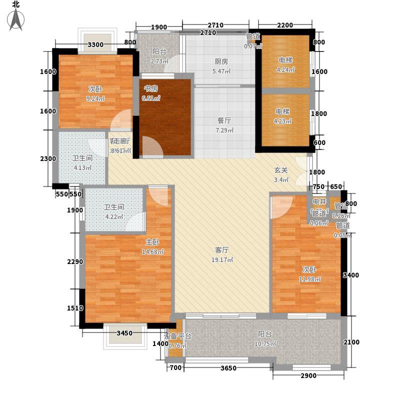 富力金港城131.08㎡A10-12栋02+03单元4室户型