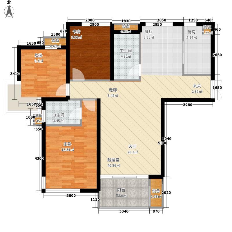 龙腾国际花园140.01㎡14#楼C1户型3室2厅