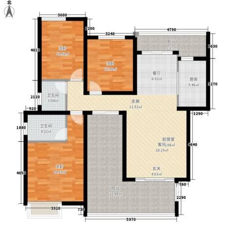 龙湖悠山香庭3室0厅2卫1厨109.47㎡户型图
