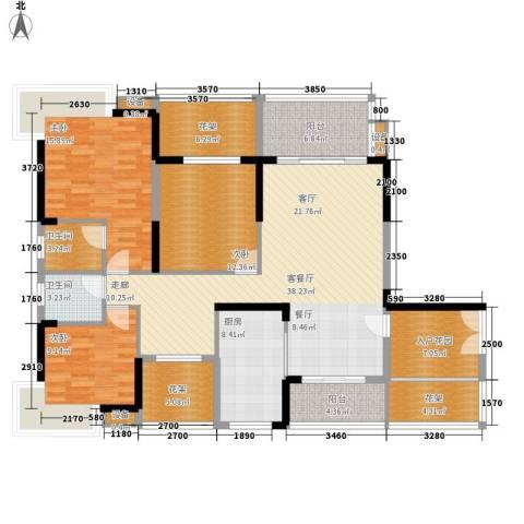 公园一号3室1厅2卫1厨144.04㎡户型图