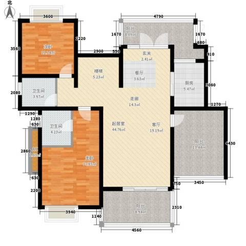 龙湖悠山香庭2室0厅2卫1厨153.00㎡户型图