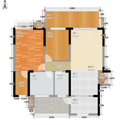 公园一号3室1厅2卫1厨112.20㎡户型图
