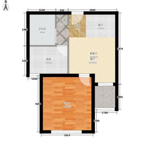 伴山蓝庭1室1厅1卫1厨52.00㎡户型图