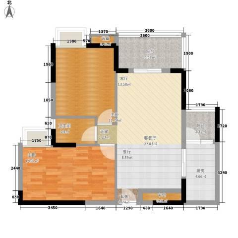 公园一号2室1厅1卫1厨75.14㎡户型图