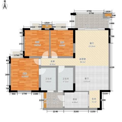 金沙湾花园3室0厅2卫1厨120.00㎡户型图