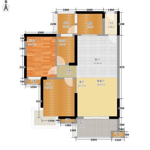 公园一号2室1厅1卫1厨84.18㎡户型图