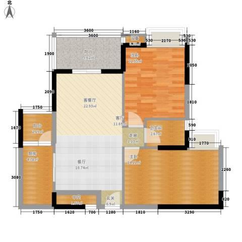 公园一号2室1厅1卫1厨75.03㎡户型图