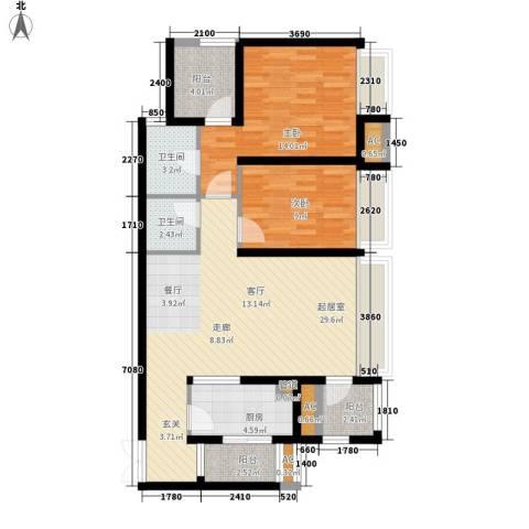 龙湖悠山香庭2室0厅2卫1厨79.00㎡户型图